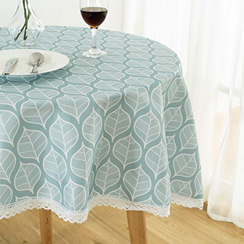 Xlabor Abwaschbar Rund Tischdecke mit Spitze Wasserdicht Stoff Tischtuch Tischwäsche Pflegeleicht Garten Zimmer Tischdekoration Blatt 140cm