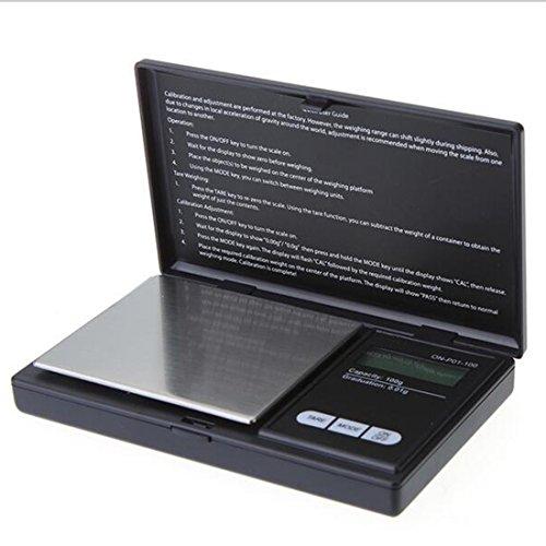 Balance électronique de précision à écran LCD, format compact de poche, légère et portable, capacité 100 g, graduation 0,01 g, 2, 200g/0.01g