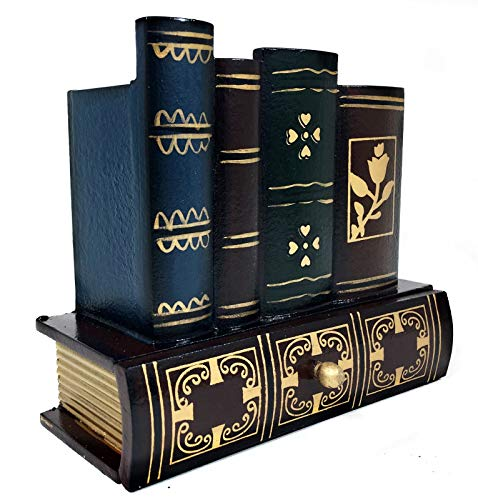 Bellaa 20591 Decorative Books Design Wooden Office Supply Caddy Pencil Holder Organizer with Bottom Drawer