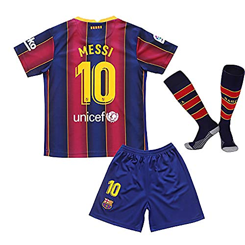 2020/2021 Season Home Messi Sportswear Soccer Jersey Kids Sport T-Shirts & Shorts & Socks for Youths(7-8Years/Size22)