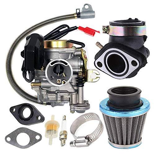KKmoon carburateur met luchtfilter aanzuigspruitstuk voor GY6 50CC 49CC 4-takt scooter Taotao motor 18 mm