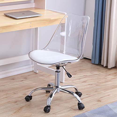 JIAJULL Transparent Drehstuhl, Drehbare Lifting Haushaltsklein Stuhl, Nordic Computer Stuhl, kreativer Bürostuhl, Compact Einfacher Study Chair (Farbe : Weiß)