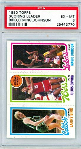 1980 Topps Larry Bird #34 Magic Johnson #139 Julius Erving Rookie PSA 6 P1117 - Basketball Slabbed Rookie Cards