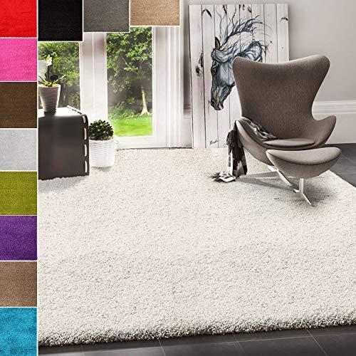 VIMODA Prime Shaggy Teppich Farbe Türkis Hochflor Langflor Teppiche Modern, Maße:70x140 cm