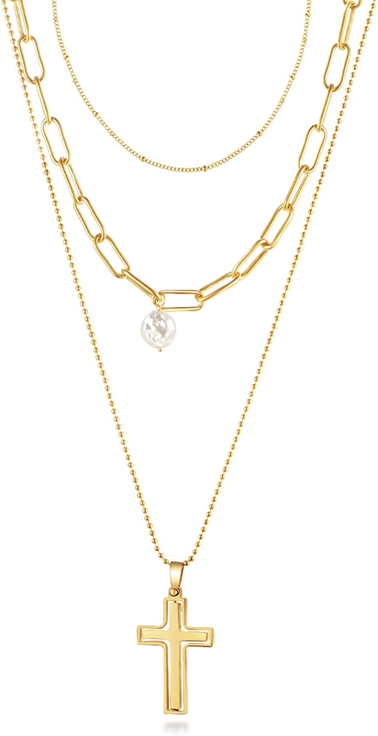 AMIREUX Gold Layered Necklaces for Women, 14K Gold Plated Dainty Layering Initial Necklace for Women Teen Jewelry Gifts