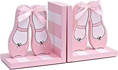 LRHD Pack of 2 Wooden Cartoon Dancing Shoes Non-Skid Bookends for Kid's Room & Nursery Room Decor Decorative Creative Boy Girl Room Bookcase Board Desktop Storage Book Holder for Students