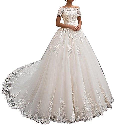 Tianshikeer Hochzeitskleider Damen Prinzessin Spitze Tüll A-Linie Lang Brautkleider Lange Tailing