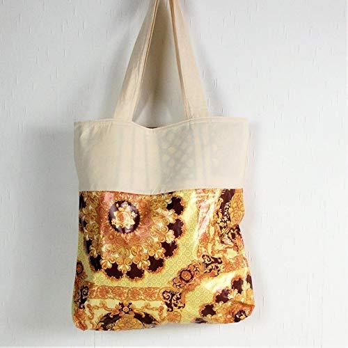 genähte Handtasche, Einkaufstasche, beige, aus Baumwollstoff und Wachstuch, Shopper