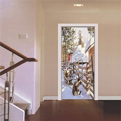 3D Door Stickers Mural Christmas Snow Scenery 3D Door Sticker Home Decoration Self-Adhesive PVC Stickers