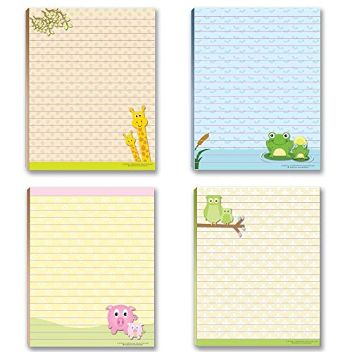 Cute Animal Theme Pads - Teacher Notepad - 4 Assorted Note Pads - Great Gift Idea