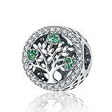 Ciondolo a forma di albero della vita, con zirconia cubica verde, in argento 925, Cristallo, Stile 4