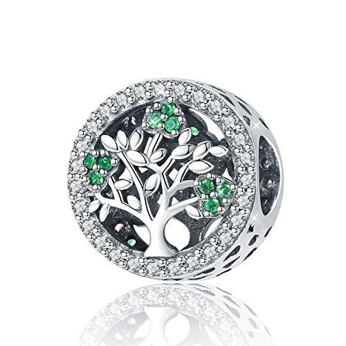 Dije con dibujo de árbol de la vida de plata 925 y con circonitas cúbicas verdes, dije para pulsera, cristal, Estilo 4.