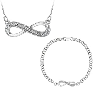 Infinity Diamond Bracelet and Pendant Necklace Jewelry Set in Sterling Silver (0.13 cttw)