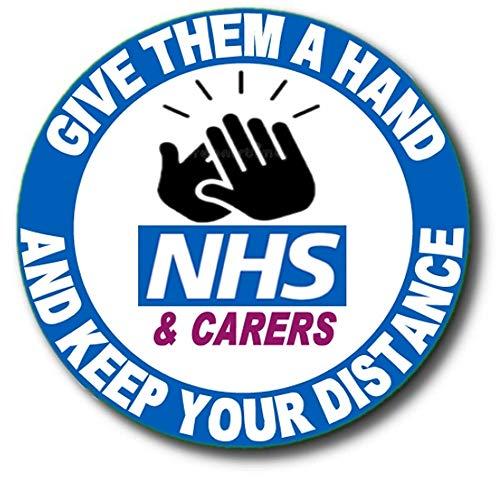 """Clap for NHS & Carers – dales una mano, mantén tu distancia"""" – NHS apreciación durante Coronavirus/Covid-19Coronavirus/Covid-19 Crisis – 55 mm/2.2' diámetro"""