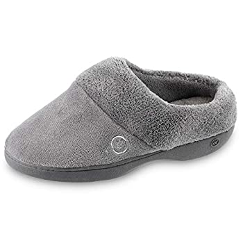 isotoner Women s Cozy Terry Slip-in Clog with Soft Memory Foam Comfort Arch Support and an Indoor/Outdoor Sole Ash 7.5-8