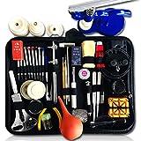 WFFF Kit d'outils de réparation de Montre, Ensemble d'outils Professionnels de Barre de Ressort 176 en 1 Kit d'outils de Remplacement de Batterie de Montre avec Sac