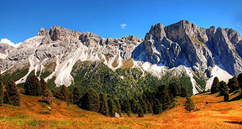 LAMINATED 45x24 Poster: Dolomites Monte Stevia Mountains Alm Nature Unesco World Heritage Clouds Mood Panorama Val Gardena Landscape Alpine Italy Great South Tyrol View Meadow Valgardena