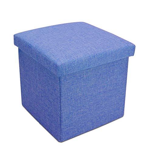 Intirilife Faltbarer Sitzhocker 38x38x38 cm in Meer BLAU - Sitzwürfel mit Stauraum und Deckel aus Stoff in Leinen Optik - Sitzcube Fußablage Aufbewahrungsbox Truhe Sitzbank