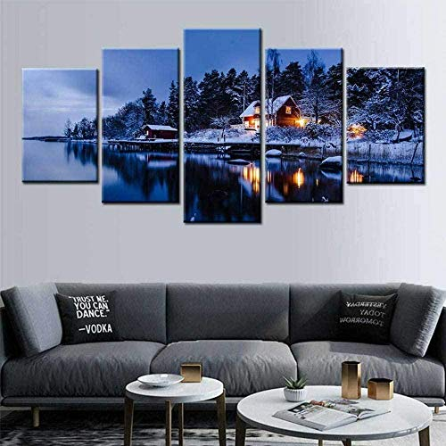 5-delad canvas konsttryck bild modern vägghängd dekoration bild abstrakt design Hd kontor trendig fotoram – snöig nattutsikt över Stockholm, Sverige