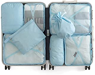 Packing Cubes 8 Sets Travel Luggage Organizers with Waterproof Storage Bag Compression Pouches High Capacity Design (Blue) QDDSP (Color : D)