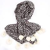 Bufanda mantón de las mujeres del otoño y del invierno a un leopardo bufanda de piel de conejo bola caliente engrosamiento de lana bufanda Mujer Artificial Mantón de doble propósito -Regalos para dama