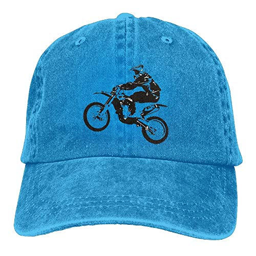 Hoswee Baseballmütze Hüte Kappe Funny Motorcycle Off-Road Race Plain Adjustable Cowboy Cap Denim Hat for Women and Men