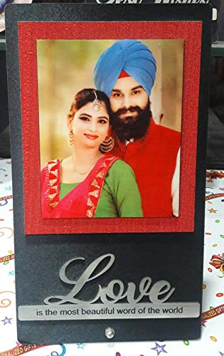 Quality Star Wooden Table Frame with Love is The Most Beautiful Word of The World Engraved Customized Photo Plaque for Husband, Wife (Multicolor, 6x6 Inch)