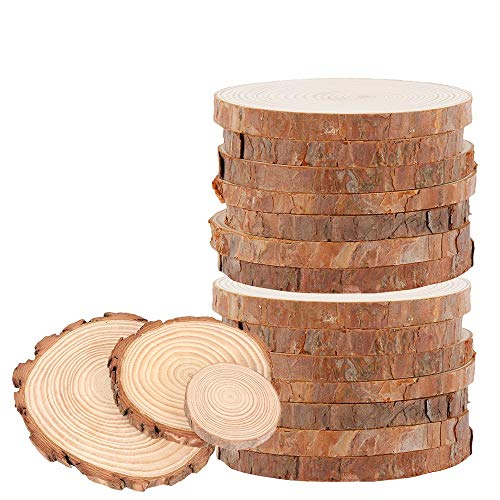 Wood Slices 10pcs 15-17cm Round Natural Wood Slices Unfinished Log Wooden Circles for DIY Crafts Wedding Decorations