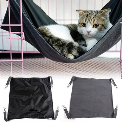 Petneces Hängematte für Katzen, wasserdicht, Oxford-Gewebe, Bett für den Käfig, Schlafplatz für Kleintiere–  2-in-1:für Sommer & Winter–einfach am Käfig zu befestigen