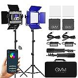 Luce video a LED GVM con treppiede, controllo APP Illuminazione video RGB a colori CRI97 Dimmerabile 2300K-6800K Illuminazione fotografica a LED Per videocamera da studio Youtube