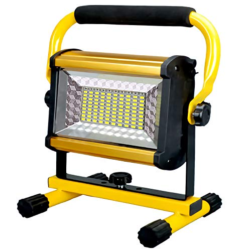 Rechargeable LED Work Light, 100W Portable Work Light Spotlight with Stand, Super Bright 4 Modes with Plug Waterproof Outdoor Mechanic Light for Workshop, Garage, Construction Site