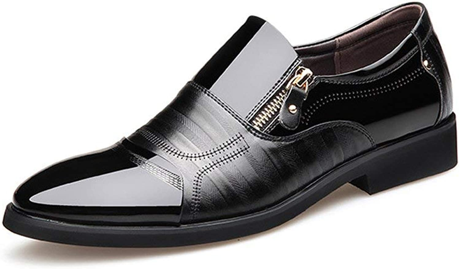 FuweiEncore 2018 Mens Business shoes Smooth PU Leather Splice Zipper Decoration Slip-on Breathable Mesh Oxfords (color  Brown, Size  42 EU) (color   Black, Size   44 EU)