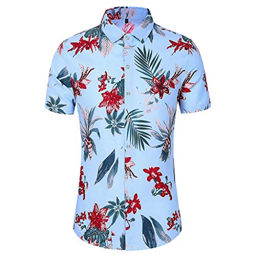 Men Slim Loose T-Shirt Hawaii Short Sleeve Printed Turndown Fashion Collar Tops Blue