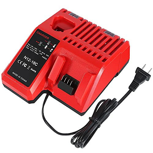YongerTool Rapid Battery Charger Replacement Milwaukee 48-59-1812 Compatible with 12 14.4 18V M 12 M 18 XC Lithium Ion Battery 48-11-2420 48-11-1815 48-11-1840 48-11-1841 48-11-1850
