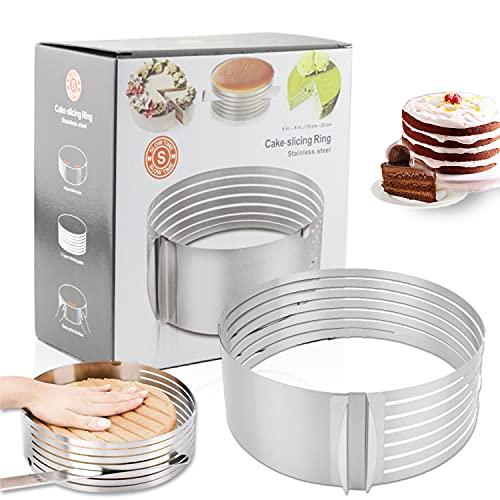 Utensile da taglio per torta da 9-12 pollici | taglierino per torta in acciaio inossidabile | anello per torta regolabile | può essere utilizzato per realizzare torte squisite a casa, pasticcerie, ecc