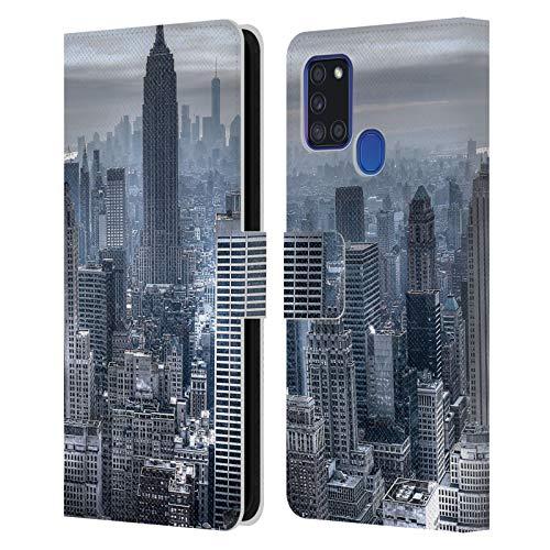 Head Case Designs Licenciado Oficialmente Haroulita Nueva York 3 A Sus Lugares Carcasa de Cuero Tipo Libro Compatible con Samsung Galaxy A21s (2020)
