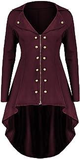 Geili Damen Mantel Frack Jacke Gothic Gehrock Uniform Kostüm Party Outwear Karneval Damenfrack Frauen Übergrößen Lang mit Reverskragen Reißverschluss Mäntel Asymmetrisch Coat