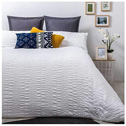 Funda Nordica Seersucker Blanco. Cama de 150 (240 X 220 cm). Tejido BAMBULA. Color Blanco. Cierre con Cremallera