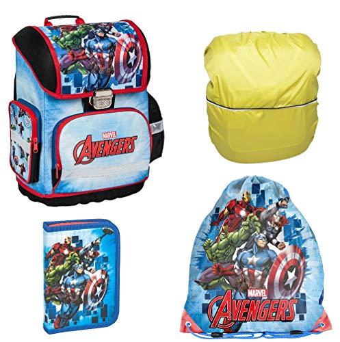 Avengers Marvel Schulranzen Set 4 TLG. inkl. Federmäppchen, Sportbeutel, Regenschutz, für Jungen 1 Klasse | Tornister Schultasche | super leicht | ergonomisch und anatomisch