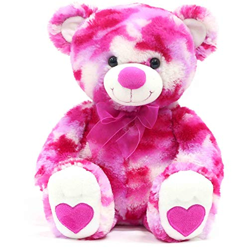 """13"""" Stuffed Pink White Camo Teddy Bear with Hearts on Paws and Pink Organza Ribbon Bow"""