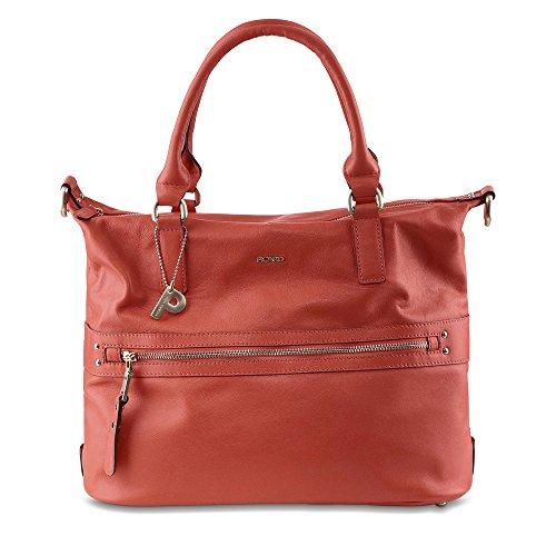 Picard Damentasche Moa Rindsleder Metall-Details Metallfüße Reißverschluss corall