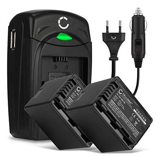 CELLONIC 2X Batteria Compatibile con Panasonic HC-V770 -V777 -V760 -V380 -V270 -V180 -V100 -V800, HC-VX980 HC-VXF990 HC-W580 VW-VBK180 VW-VBT190 -VBT380 VW-VBY100 Caricabatteria VW-BC10 accu Ricambio