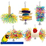 6 Pieces Parrot Cage Shredder Toy Bird Chewing Toys Foraging Hanging Toy Bird Loofah Toys with Bird Perch Stand Toy Blue Paw Grinding Stick for Small Bird Parakeets Cockatiel Conure African Grey
