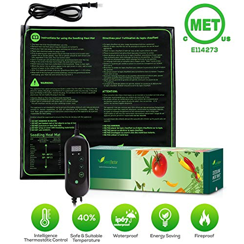 Seedfactor MET Certified Seedling Heat Mat with 50℉~108℉ Digital Thermostat Controller for Seed Germination 20quot x 20quot