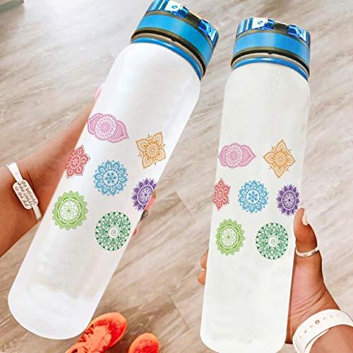 Niersensea Botella de plástico de los siete chakras, sin BPA, para deportes, viajes, camping, deportes al aire libre, color blanco, 1000 ml