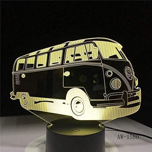 A-Generic 3D Autobús Escolar Luz de Noche Luces de acrílico Lampara 7 Colorido Lámpara de wicklock con Toque El botón Cambiar los Colores N25-N16-N10