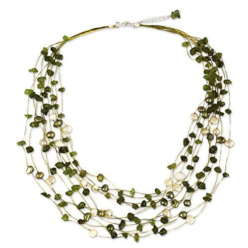 """NOVICA Peridot and Dyed Cultured Freshwater Pearl Strand Necklace, 20"""" with 2"""" Extender"""