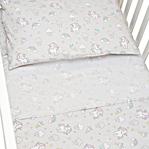 CangooCare® - Juego de sábanas de 3 piezas para cuna de bebé, Montessori, 70 x 140 cm, cuna, ropa de cama, 100% algodón (Unicorni)