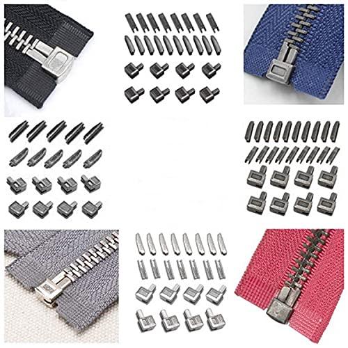 24Pcs Metal Zipper Head Slider Zipper Bottom Sliders Retainer Insertion Pin Zipper Stopper Repair Kit for Coats Jacket DIY Sewing Replacement