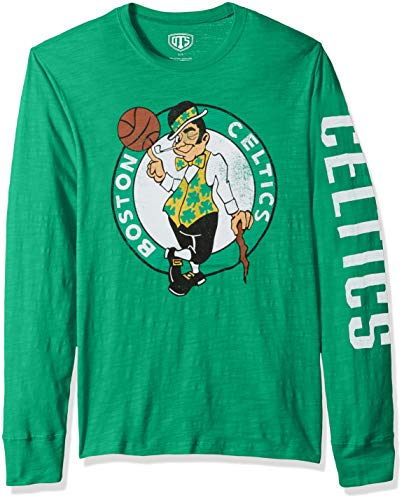 OTS NBA Boston Celtics Men's Slub Long Sleeve Team Name Tee, Distressed Sinclair, X-Large